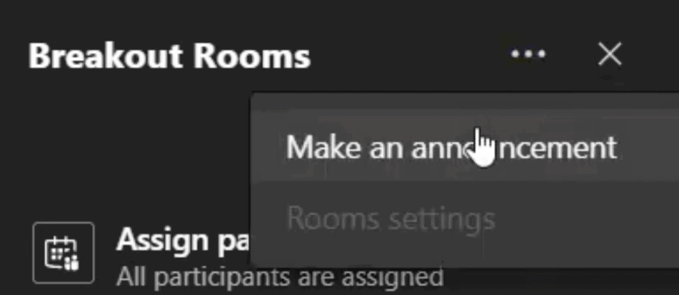 aankondiging in Breakout Rooms