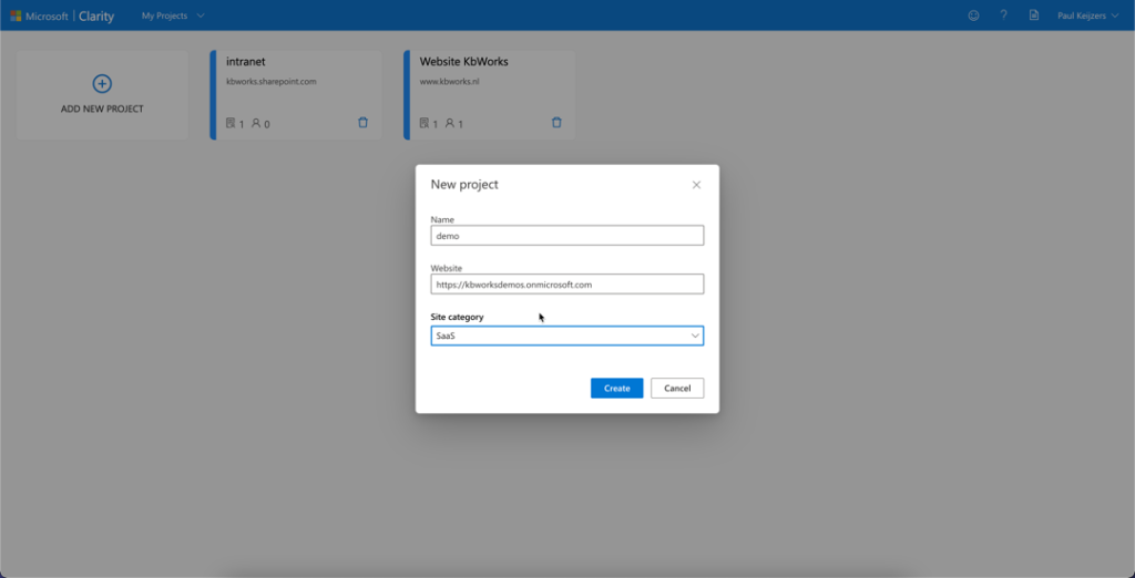 Nieuw project in Microsoft Clarity