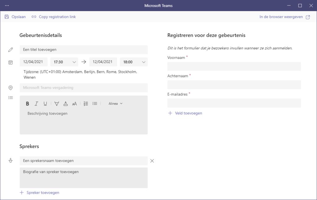 standaard registratie formulier teams webinar