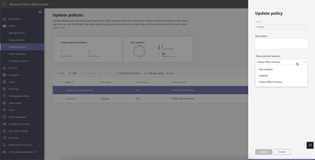 Instellingen Microsoft Teams Preview