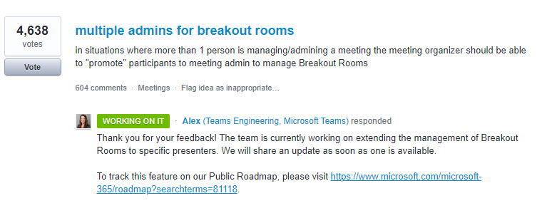 Uservoice Breakout rooms