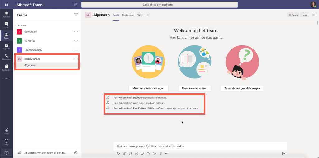 Microsoft Teams team aangemaakt