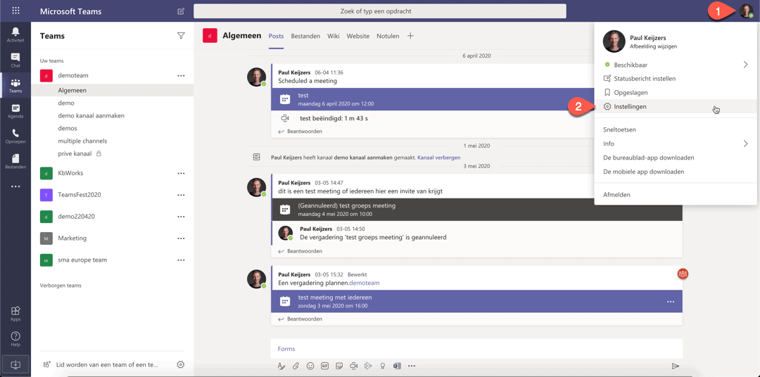 Instellingen in Microsoft Teams