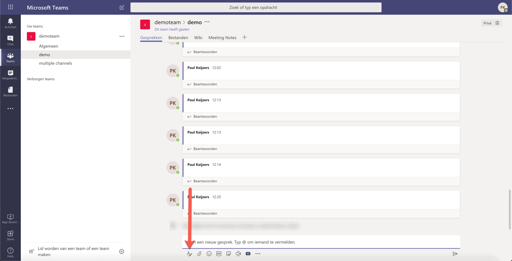 formating in Microsoft teams