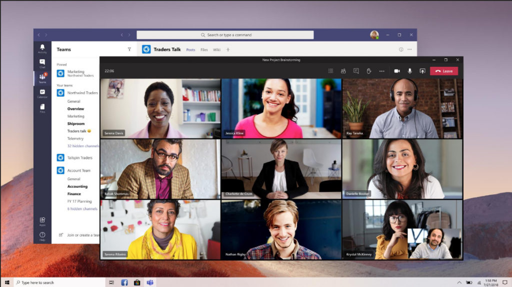 Meerdere personen in Microsoft Teams in beeld